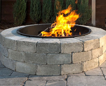 Unilock Sunset Fire Pit Kit Round Pine Landscape Accomplished